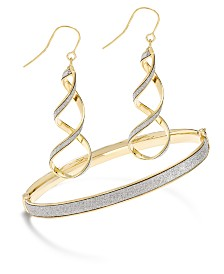 Glitter Twist Drop Earrings and Bangle Collection in 14k Gold