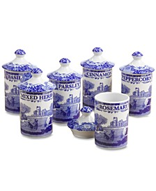 """Blue Italian"" Spice Jars, Set of 6"
