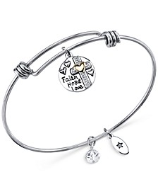Two-Tone Faith Disc Bangle Bracelet in Stainless Steel with Silver Plated