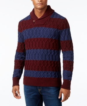 Men's Vintage Style Sweaters – 1920s to 1960s Tommy Hilfiger Mens Sheffield Striped Cable-Knit Sweater $29.99 AT vintagedancer.com