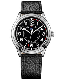 Tommy Hilfiger Men's Table Black Leather Strap Watch 42mm 1791282, Created for Macy's