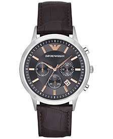 Emporio Armani Men's Chronograph Dark Brown Leather Strap Watch 43mm AR2513