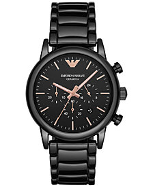 Emporio Armani Men's Chronograph Luigi Black Ceramic Bracelet Watch 43mm AR1509