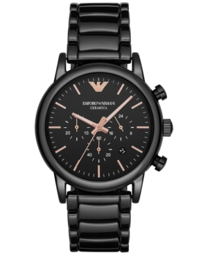 Emporio Armani Men's Chronograph Luigi Black Ceramic Bracelet Watch 43mm AR1509