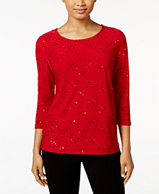 JM Collection Petite Embellished Jacquard Top, Created for Macy's