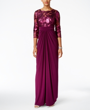 Formal Edwardian Gowns Adrianna Pappell Sequin Illusion Draped Gown $199.00 AT vintagedancer.com