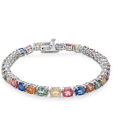 Multi-Sapphire Tennis Bracelet (20 ct. t.w.) in Sterling Silver, Created for Macy's