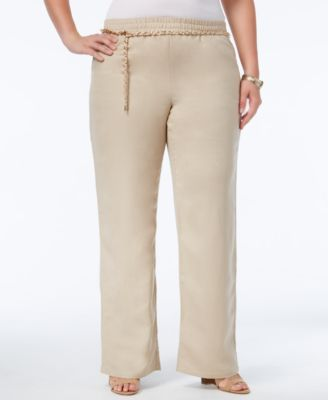 JM Collection Plus Size Linen Belted Pants, Only at Macy's