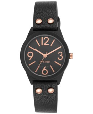 Image of Nine West Women's Black Imitation Leather Strap Watch 36mm NW-1932BKRG