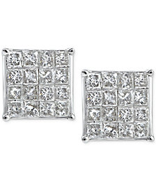 Diamond Square Cluster Stud Earrings (1 ct. t.w.) in 10k White Gold