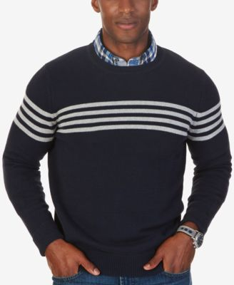 Nautica Mens Chest,Stripe Crew,Neck Sweater, Only at Macys