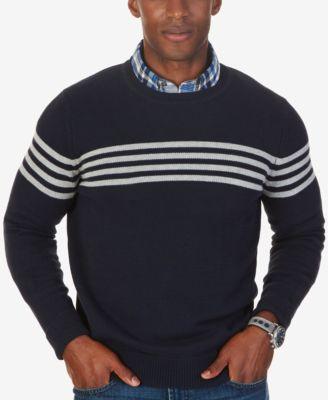 Nautica Mens Chest,Stripe Crew,Neck Sweater, Only at Macys