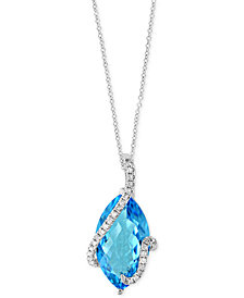 Ocean Bleu by EFFY® Blue Topaz (7-1/10 ct. t.w.) and Diamond (1/8 ct. t.w.) Pendant Necklace in 14k White Gold