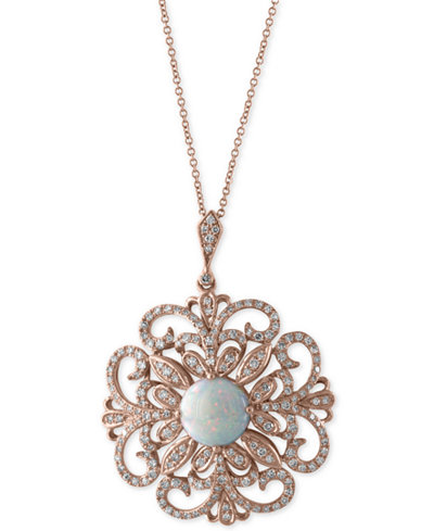 Aurora by EFFY® Opal (1-1/4 ct. t.w.) and Diamond (2/3 ct. t.w.) Pendant Necklace in 14k Rose Gold