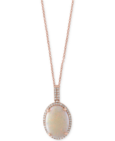 Aurora by EFFY® Opal (3-1/10 ct. t.w.) and Diamond (1/8 ct. t.w.) Pendant Necklace in 14k Rose Gold
