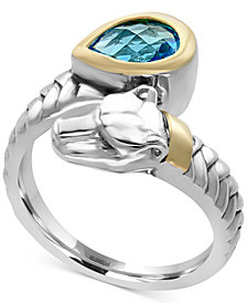EFFY® Blue Topaz (1-1/10 ct. t.w.) Panther Bypass Ring in Sterling Silver and 18k Gold