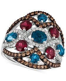 Blue Topaz, Raspberry Rhodolite® Garnet and Diamond (3-1/6 ct. t.w.) Ring in 14k White Gold, Created for Macy's