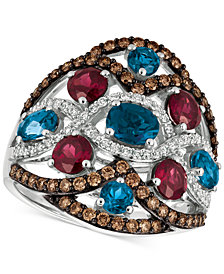 Le Vian® Blue Topaz, Raspberry Rhodolite® Garnet and Diamond (3-1/6 ct. t.w.) Ring in 14k White Gold, Created for Macy's