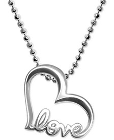 Heart Love Pendant Necklace in Sterling Silver
