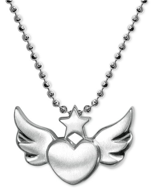 Alex Woo Heart Wing Pendant Necklace in Sterling Silver