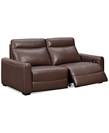 "CLOSEOUT! Marzia 78"" Leather Sofa with 2 Power Recliners, Created for Macy's"
