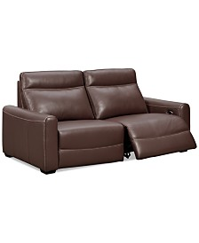"""Marzia 78"""" Leather Sofa with 2 Power Recliners, Created for Macy's"""