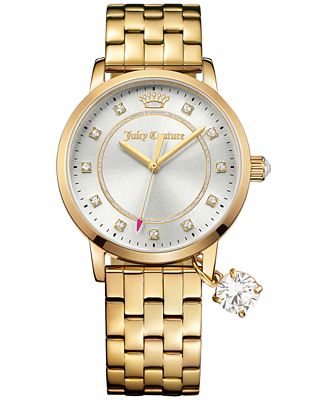 Juicy Couture Women's Socialite Gold-Tone Stainless Steel Bracelet Watch with Charm 36mm 1901475