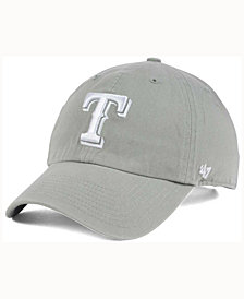 '47 Brand Texas Rangers Gray White CLEAN UP Cap