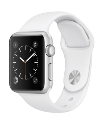 Image of Apple Watch Series 1 38mm Silver-Tone Aluminum Case with White Sport Band