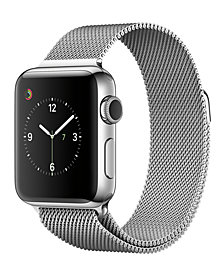 Apple Watch Series 2 38mm Stainless Steel Case with Silver-Tone Milanese Loop
