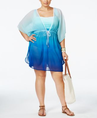 Bleu by Rod Beattie Plus Size Fun In The Sun Chiffon Ombré Cover-Up