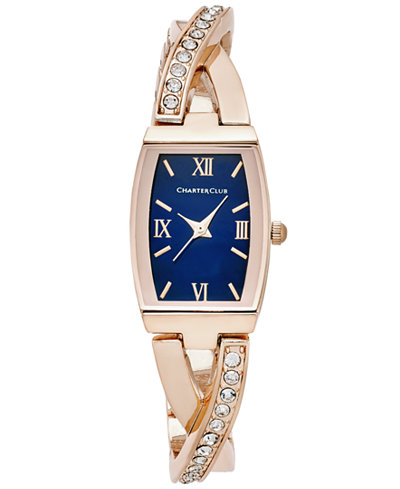 Charter Club Women's Crystal Rose Gold-Tone Bangle Bracelet Watch 20x28mm, Only at Macy's