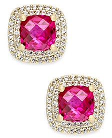 Lab-Created Ruby (2-1/6 ct. t.w.) and White Sapphire (1/3 ct. t.w.) Square Stud Earrings in 14k Gold-Plated Sterling Silver
