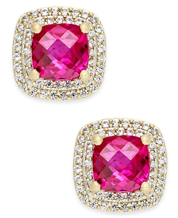 Macy's - Lab-Created Ruby (2-1/6 ct. t.w.) and White Sapphire (1/3 ct. t.w.) Square Stud Earrings in 14k Gold-Plated Sterling Silver