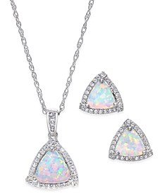 Lab-Created Opal (7/8 ct. t.w.) and White Sapphire (1/3 ct. t.w.) Pendant Necklace and Matching Stud Earrings Set in Sterling Silver