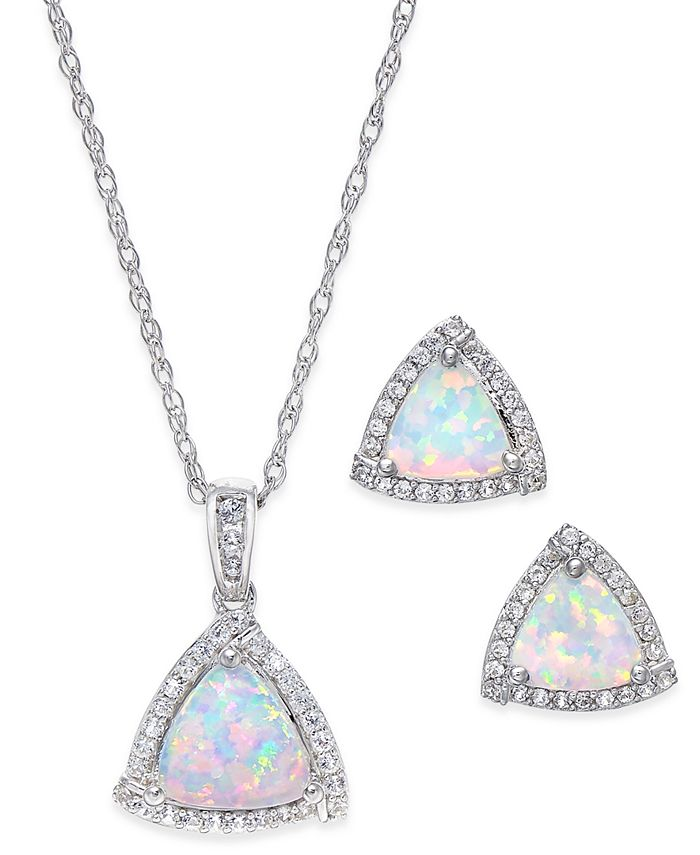Macy's - Lab-Created Opal (7/8 ct. t.w.) and White Sapphire (1/3 ct. t.w.) Pendant Necklace and Matching Stud Earrings in Sterling Silver