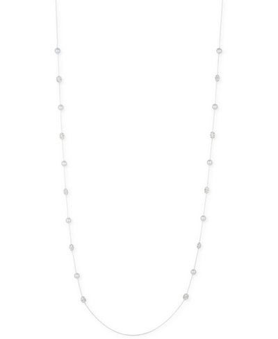Anne Klein Imitation Pearl and Pavé Cluster Long Necklace