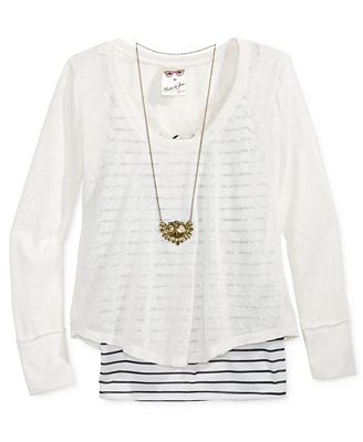 Belle Du Jour Raw-Edge Stripe & Lace Top & Necklace Set, Big Girls (7-16)