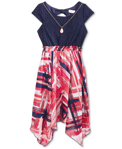 Bloome Handkerchief Dress & Necklace Set, Big Girls (7-16)