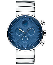 Movado Men's Swiss Chronograph Edge Stainless Steel Bracelet Watch 42mm 3680030