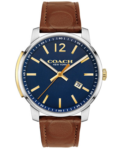 COACH Men's Bleecker Brown Leather Strap Watch 42mm 14602114