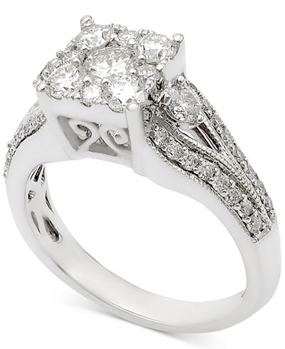 Diamond Cluster Engagement Ring (1-1/4 ct. t.w.) in 14k White Gold