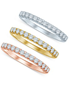 Diamond Tri-Color Stackable Bands (3/8 ct. t.w.) in 14k Gold, White Gold, and Rose Gold