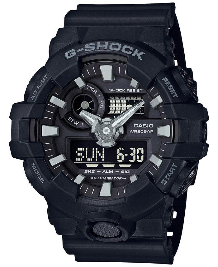 G-Shock - Men's Analog-Digital Black Resin Strap Watch 53x58mm GA-700-1B