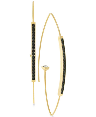 Vince Camuto Gold-Tone Clear and Jet Crystal Threader Earrings