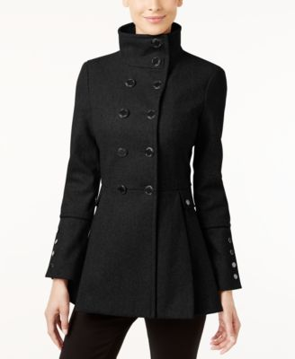 Petite Double-Breasted Skirted Peacoat