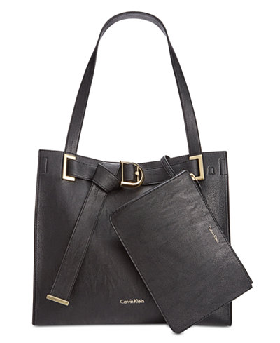 Calvin Klein Nola Faux-Leather Pebble Tote with Pouch