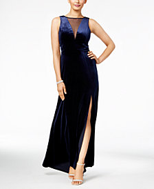 Nightway Plunging Illusion Velvet Gown