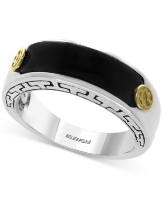effy menu0027s onyx 20 x 6mm ring in sterling silver and 18k gold