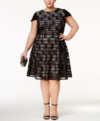 Alfani Plus Size Lace Fit & Flare Dress, Only at Macy's